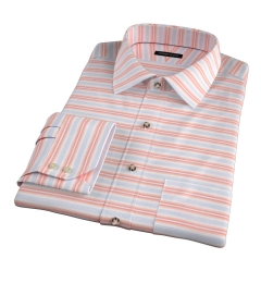 Albini Orange White Horizon Stripe Men's Dress Shirt