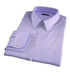 Thomas Mason Lavender Wrinkle-Resistant Houndstooth Custom Dress Shirt