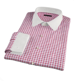 Canclini Red Blue Check Linen Fitted Dress Shirt