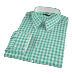 Green Large Gingham Fitted Shirt