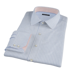 Medium Light Blue Gingham Fitted Dress Shirt