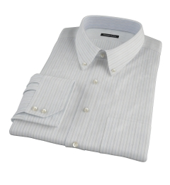 Light Blue Grey Dobby Stripe Custom Dress Shirt