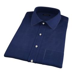 Portuguese Vintage Navy Cotton Linen Herringbone Short Sleeve Shirt