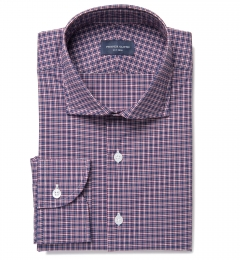 Lorimer Navy and Red Small Plaid Dress Shirt