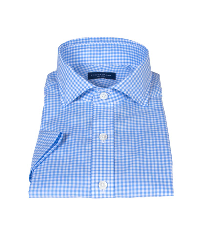 Blue Cotton Linen Gingham Short Sleeve Shirt