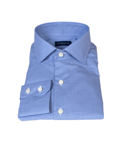 Thomas Mason Blue Mini Houndstooth Dress Shirt