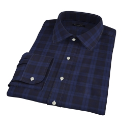 Canclini Navy Tonal Plaid Fitted Dress Shirt
