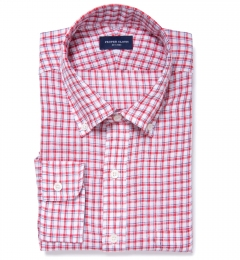 Canclini Red Blue Check Linen Fitted Shirt