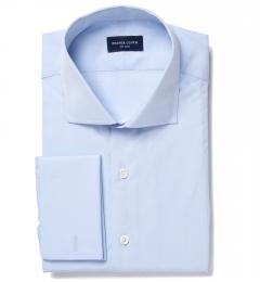 Thomas Mason Light Blue Luxury Broadcloth Custom Dress Shirt
