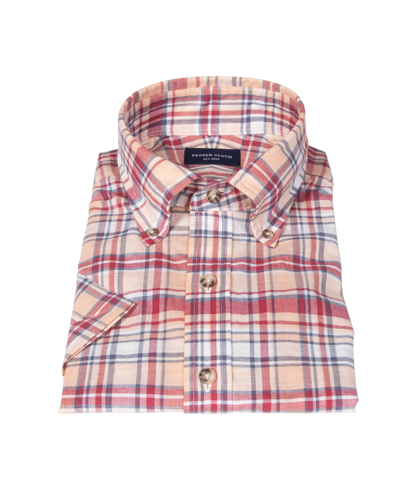 Red and Blue Organic Madras Short Sleeve Shirt