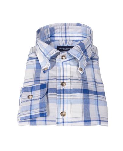 Blue and White Organic Madras Dress Shirt