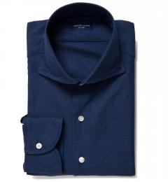 Albini Navy Melange Oxford Custom Made Shirt