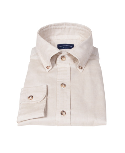 Tan Cotton Linen Oxford Men's Dress Shirt