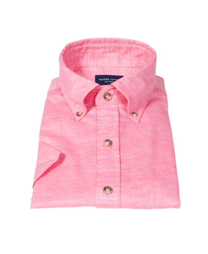 Hibiscus Cotton Linen Oxford Short Sleeve Shirt