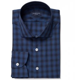 Vincent Navy and Ocean Blue Plaid Dress Shirt