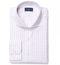 Verona Coral 100s Border Grid Men's Dress Shirt
