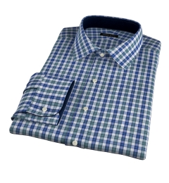 Vincent Sage and Indigo Plaid Men's Dress Shirt