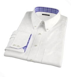 120s White Royal Herringbone Custom Made Shirt