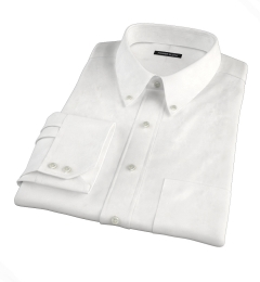 White Cotton Linen Oxford Fitted Dress Shirt