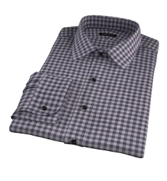 Canclini Grey Gingham Heavy Flannel Fitted Dress Shirt