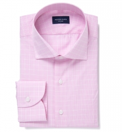 Firenze 120s Pink Multi Grid Fitted Shirt