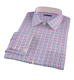 Thomas Mason Red Multi Check Custom Dress Shirt