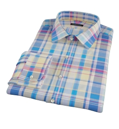 Yellow Blue Red Madras Fitted Dress Shirt