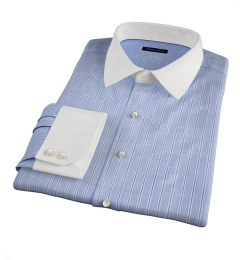 Canclini Blue Slub Stripe Fitted Dress Shirt