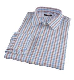 Thomas Mason Brown Multi Gingham Fitted Shirt
