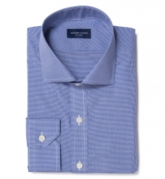Canclini Blue Micro Check Fitted Dress Shirt