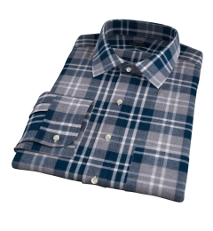 Teal and Cinder Large Plaid Flannel Fitted Shirt