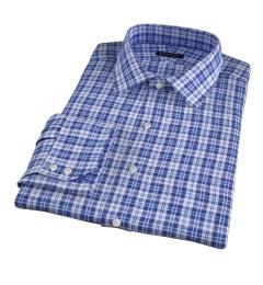 Canclini Navy Blue Plaid Linen Men's Dress Shirt