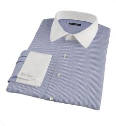 Carmine Navy Mini Check Men's Dress Shirt