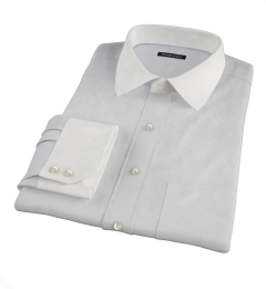 Bowery Light Grey Wrinkle-Resistant Pinpoint Fitted Shirt