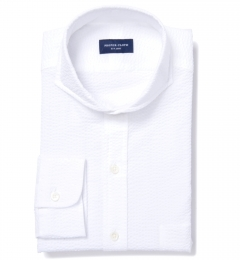 Canclini White Luxury Seersucker Tailor Made Shirt