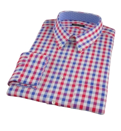 Red and Blue Large Gingham Fitted Dress Shirt
