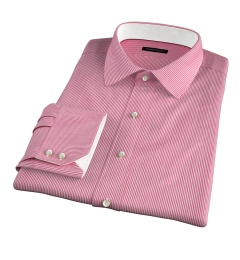 Carmine Red Pencil Stripe Custom Made Shirt