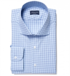 Minetta Blue Wrinkle-Resistant Multi Check Custom Made Shirt