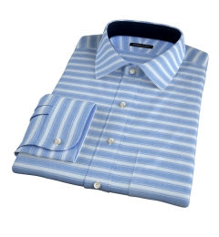 Albini Blue White Horizon Stripe Men's Dress Shirt