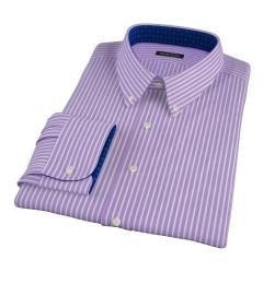 Canclini Purple Reverse Bengal Stripe Fitted Shirt
