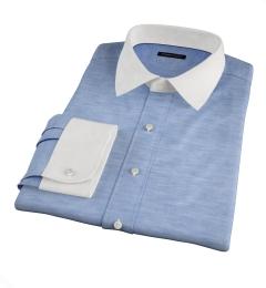 Portuguese Blue Cotton Linen Herringbone Dress Shirt