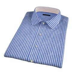 Blue Cotton Linen Stripe Short Sleeve Shirt