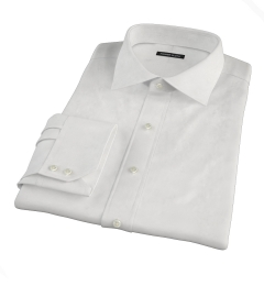 White Wrinkle Resistant Rich Herringbone Fitted Shirt
