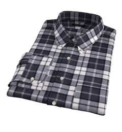 Canclini Grey Plaid Beacon Flannel Fitted Dress Shirt