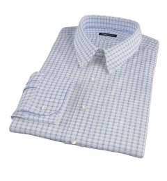 Thomas Mason Dark Blue Grid Fitted Shirt