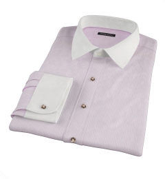Pink Cotton Linen Stripe Men's Dress Shirt