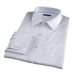 Verona Light Blue 100s Border Grid Men's Dress Shirt