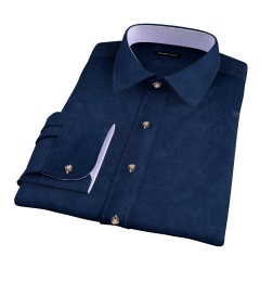 Thomas Mason Navy Luxury Broadcloth Fitted Dress Shirt