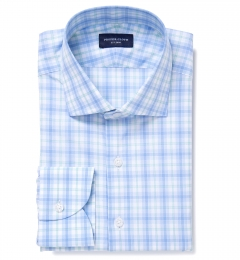 Siena Blue and Mint Multi Check Fitted Dress Shirt