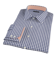 Canclini Navy Gingham Tailor Made Shirt